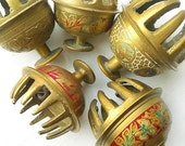 Livin' On A Prayer... Vintage Brass India Prayer Bells Instant Collection of 5 Etched Bohemian Boho Chic Elephant Bells