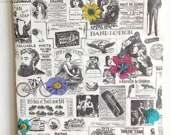 Extra Extra Read All About It... Vintage Newspaper and Flower Vinyl Wallpaper Roll Ephemera Wall Covering