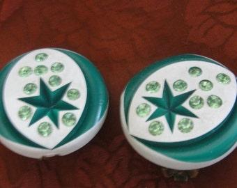 Vintage Green Acrylic Rhinestone Clip Earrings
