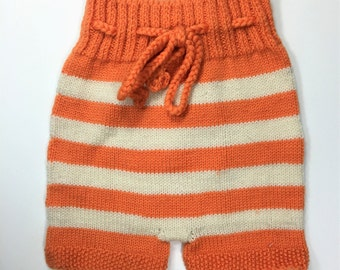 Orange Striped Knitted Woolen Shorties Soakers Pure Wool Newborn to 6 month size