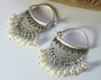 June Stone - Pearl Earrings, Pearl Hoop Earrings, Silver Pearl Earrings, Silver Hoops, Wedding Jewelry Earrings, Earrings Bridal