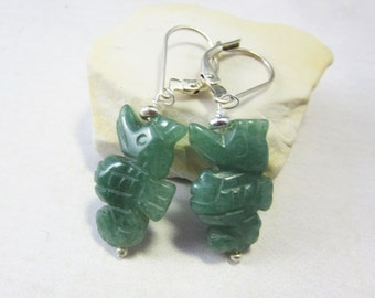 green aventurine sea horse - adventuring seahorse earrings - carved sea horse jewelry - dangle earrings - drop earrings - seahorse lover