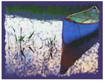 Blue Canoe, Purple Hues - Lake - Watson Pond - 8 x 10 Art Print