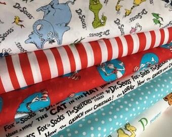 Dr Seuss fabric bundle of 6, Gift for Teacher, Book lover, Classroom Decor, Seuss Party, Busy Book, Dr Seuss Decorations, Choose your cut