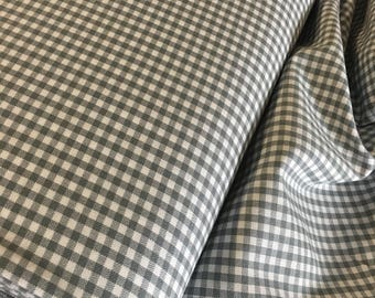 "Gingham Fabric, Dress fabric, Appliqué fabric, Plaid Fabric, Quilting Fabric, Apparel Fabric, 1/8"" Gingham Fabric in Silver, Robert Kaufman"