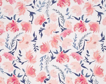 Custom Registry for KATE BOYER Blush Pink Coral & Navy Floral Changing Pad Cover Baby Nursery Bedding