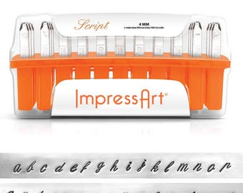 LOWERCASE steel letter stamps - by ImpressArt - Script - 4mm letters plus 7 designs - includes how to stamp metal tutorial