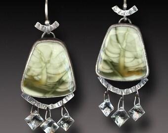 Imperial Jasper  Earrings  Sterling Silver  DANGLE Earrings Prasiolite Gemstone dangles