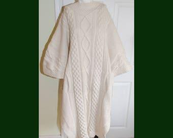 Vintage 1980's Fisherman Knit Super Long Sweater Winter Cape Poncho XL