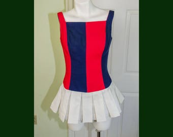 Vintage 1960's Woman's Cheerleeding Style Romper Playsuit with Pleated Skirt