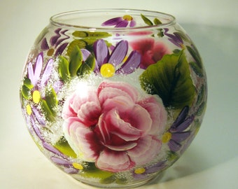 Hand Painted Roses and Daisies Candle Holder