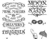 SALE PREORDER Graphic 45 Midnight Masquerade  Stamp  Set 1