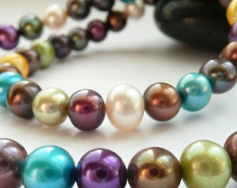 Artisan Multi Colored Fresh Water Pearls 14kt Gold Vermeil OOAK Boho Hippie Chic Valentines Love June Birthstone Gift for Her Necklace