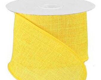 "Yellow Smooth Faux Burlap Ribbon - 2.5"" x 10 yd Wired ribbon #RG127929"