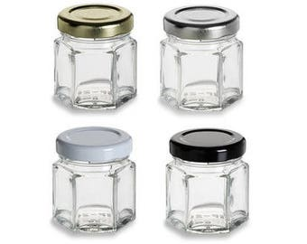 1.5 oz (45 ml) Glass Hexagon Jar with your color Choice of Plastisol Lined BPA Free Lid: Gold, Silver, White, Black