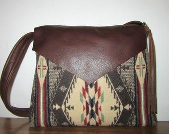Spirit of the People Handbag Hand Bag Shoulder Bag Short Strap Soft Brown Leather Blanket Wool from Pendleton Oregon
