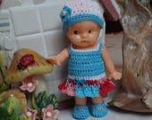 Crochet Dress Drop Waist Hat Shoes for 4.25 inch Vintage Irwin 50's doll Blue Turquoise Pink Red White Beads