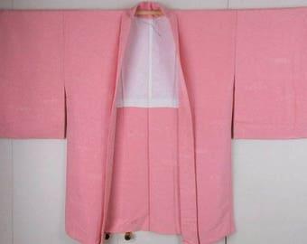 Pretty Unused Pink, Woven Tsunami Wave, Swirling Water Patterns, Textured Silk Crepe Haori Kimono Jacket