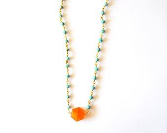 Turquoise Blue Orange Gold Necklace / Simple Modern Minimalist 14k Gold Filled Beaded Necklace Turquoise Blue and Orange Carnelian Gemstones
