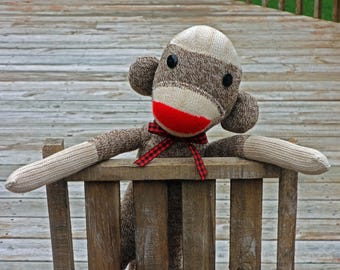 Sock Monkey Doll , Handmade in Rockford, Illinois, Traditional Vintage Style Sock Monkey Toy