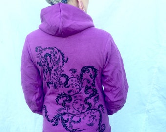 Orchid Purple Hoodie Exotic Fern Organic Plant Made In USA Zip Up Flex Fleece Sm M L XL XXL