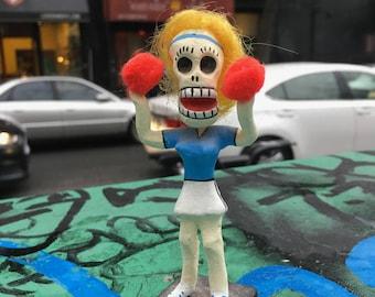 Mexican Day of The Dead Cheerleader Figurine, Dia de Los Muertos Collectible Skeleton Cheerleader