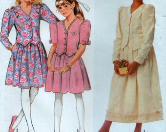 1990 Girls Top Skirt two Piece Dress Sizes 7 to 14 years Simplicity 7028