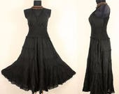 Spring Summer Long Black GYPSY PRINCESS Smock Maxi Dress Hippie Boho Gothic Size 16 18 20 Medieval Sundress