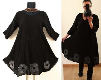 Loose Casual Short Black Fairy Pixie Floaty Flower Tunic DRESS < Floral Lagenlook Spring Summer Plus Size 14 16 18 20 1x 2x