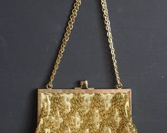 Gold Beaded Purse Fine Arts Bag Vintage Never Used