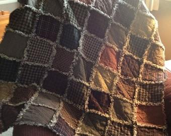 Rag Quilt Kit, DIY Rag Quilt, Prefringed Rag Quilt Kit, Small Crib size Rag Quilt, Homespun Rag Quilt, We Cut You Sew