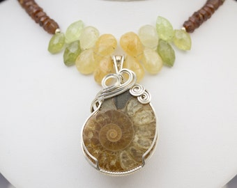 Ammonite & Hessonite Garnet Sterling Silver Wire Wrapped Pendant Necklace