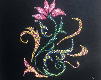 """Whimsical flower 8""""x8"""" black canvas board red yellow white green pink blue white"""