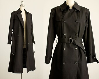 90s Vintage London Fog Black Full Length Belted Peacoat Trench Coat / Size Medium / Zip Out Plaid Lining / Pea Coat / Raincoat / Dress
