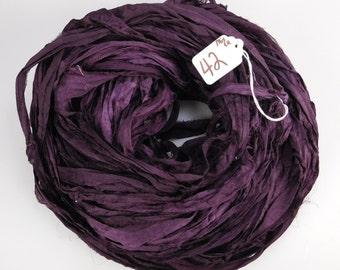 Sari silk ribbon, Silk Chiffon sari ribbon, Recycled Silk Sari Ribbon, eggplant ribbon, Aubergine ribbon, tassel supply, weaving supply