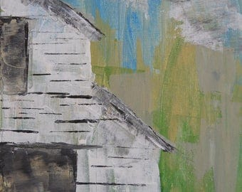 summer Barn In White Shiplap Acrylic on Canvas Painting