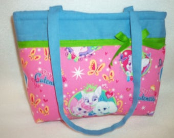 Disney Royal cuteness pets fabric pink blue puppies kittens tiny tote purse handbag youth toddler fun add name birthday gift babys first bag