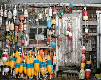 Nautical Photography, Fishing Print or Canvas, New England Photo, NE Maritime Art, Buoys, Rustic Art, Beach House Decor - Lobster Shack