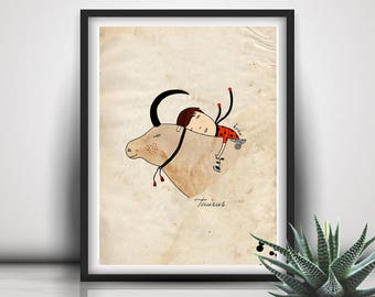 Baby Boy Coming Home, Newborn Gift Idea, Custom Zodiac Sign Print, Taurus Print, Taurus Illustration, Taurus Wall Art