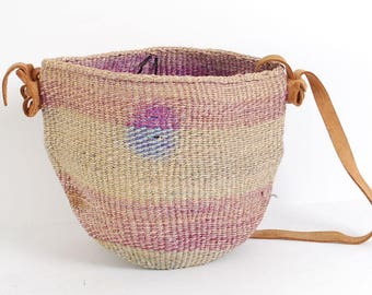 SISAL woven pastel 70s 80s JUTE leather bucket TOTE purse bag