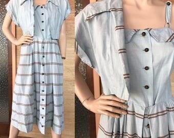 1950s pale blue striped cotton dress & bolero (M)