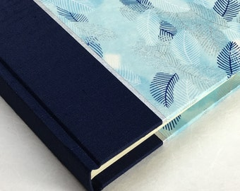 Photo Album Blue Feathers-Wedding Photo Album, Guest Book ,Scrapbook Album, Art Journal, Photo Booth Album