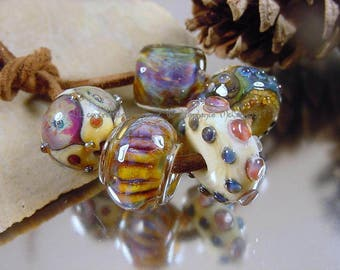 Handmade lampwork glass bead set, Artisan lampwork beads, amber beads, purple beads, blue beads, ivory beads, mixed lot bead set, SRA beads