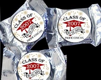 48 York Peppermint Pattie® Stickers - Class Reunion Favors - High School Reunion or Graduation Favors - Candy Stickers for Favors - Grad Cap