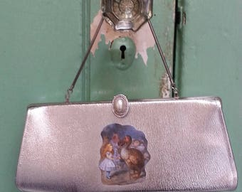 Alice in Wonderland Tenniel Illustration Silver Mid Century Handbag Alice and the Dodo
