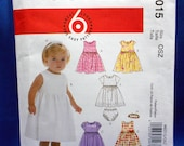 McCalls M6015, easy sewing pattern, infants dresses, panties, and headband, sizes Small to X-large