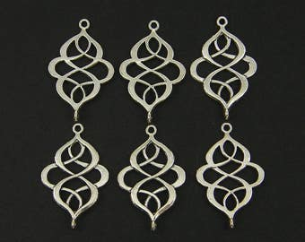 Antique Silver Jewelry Connector Bracelet Links Earring Finding Ornate Infinity Knot Figure 8 Twisted Silver Jewelry Component |S24-11|6