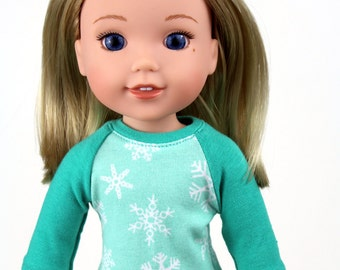 Fits like Wellie Wishers Doll Clothes - Snowflake Raglan Tee and Designer Denim Blue Jeggings | 14.5 Inch Doll Clothes
