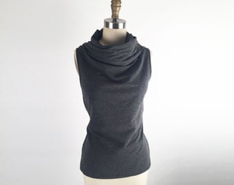 Alena Designs - Funnel - Funnel Neck Sleeveless Top Bamboo Cotton Lycra Heather Charcoal