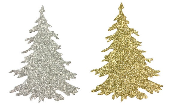 "Christmas Tree Silver and Gold Glitter Stickers 4"" Embellishment Holiday Scrapbook Greeting Card Mixed Media Paper Art Craft Altered Attic"